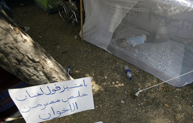 A girl sleeps at her tent near a banner during a sit-in against Egypt's President Mursi in front of Presidential Palace in Cairo