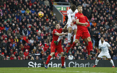Swansea City's Fernando Llorente scores their second goal