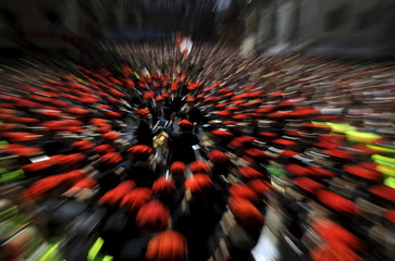 The municipal band plays during the start of the San Fermin festival in Pamplona
