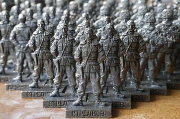 "Figurines of former pro-Russian separatist commander Igor Strelkov from the collection entitled ""Toy Soldiers of Novorossiya"" are on display at a workshop in Moscow"