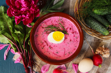 Cold summer soup. Beetroot soup