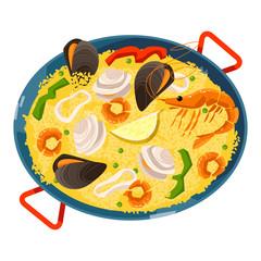 Paella with seafood. Traditional spanish food.