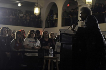 Activist West introduces U.S. Democratic presidential candidate Sanders at a campaign event in Davenport, Iowa