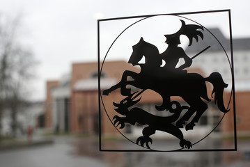 The theological library of Sankt Georgen Graduate School of Philosophy and Theology is seen behind the logo of St. George slaying the dragon in Frankfurt
