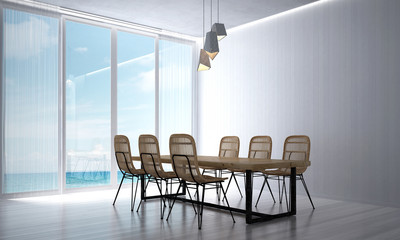 The 3d rendering interior of loft dining room design and minimal lamp