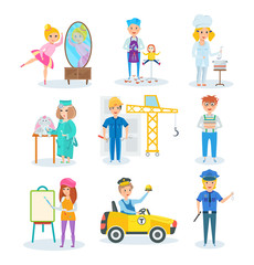 Set of occupations in which children represent, in different situations.