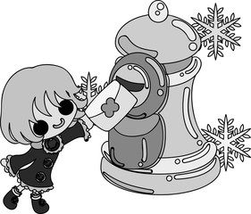 The cute illustration of winter and girls -A ice post-