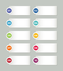 Vector elements with flat style numbers buttons  for info graphic templates