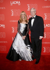 LACMA trustee Jane Nathanson and Marc Nathanson pose at LACMA's 50th anniversary gala in Los Angeles