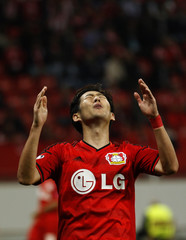 Bayer Leverkusen's Son Heung-Min reacts during their Champions League group C soccer match against Benfica in Leverkusen