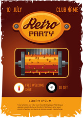 Retro party poster template with vintage clockwork music box. Steampunk design.