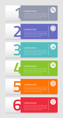 Colorful vector elements with infographic banners and number buttons for graphic and website template.