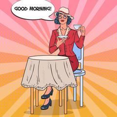Pop Art Beautiful Woman Drinking Morning Tea in Cafe. Coffee Break. Vector illustration