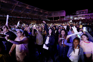 Fans watch a performance by Fifth Harmony during KIIS-FM Wango Tango concert at StubHub Center in Carson