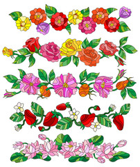 Set of floral compositions in the stained glass style on a white background,flowers without a common it is possible to move