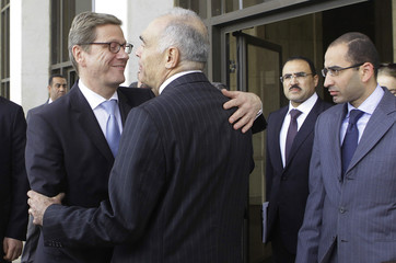 German Foreign Minister Guido Westerwelle greets his Egyptian counterpart Mohamed Kamal Amr after meeting him at the foreign ministry in Cairo