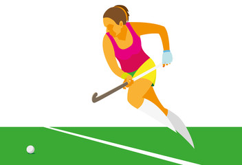 young woman is a player in field hockey, which to run into the attack