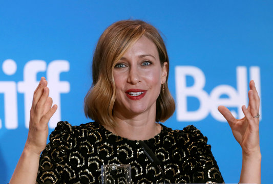 Actress Vera Farmiga attends a news conference to promote the film Burn Your Maps at TIFF