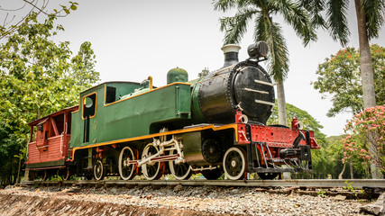 ancient train is parked in the park, to study closely, Yangon, Myanmar, April-2017