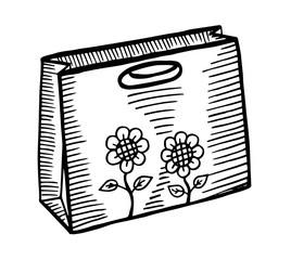 Hand drawn cartoon style shopping bag design