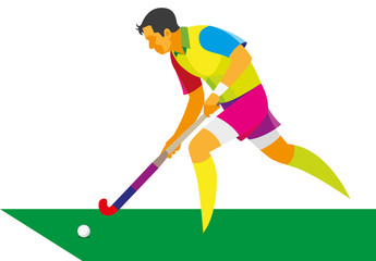 young man is a player in field hockey, running into attack