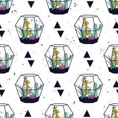 Vector colorful hand drawn seamless pattern with triangles, cactuses and succulents in terrariums on grunge texture. Modern scandinavian design