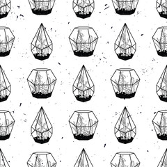 Vector black and white hand drawn seamless pattern with cactuses and succulents in terrariums on grunge texture. Modern scandinavian design