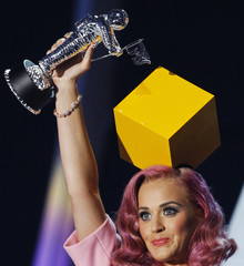 "Perry accepts the award for video of the year for ""Firework"" at the 2011 MTV Video Music Awards in Los Angeles"