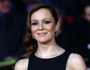 "Rachael Stirling poses as she arrives for the gala screening of the film ""Their Finest"" during the 60th BFI London Film Festival at Leicester Square in London"