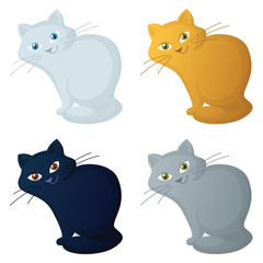 Cartoon Cats Isolated on White Background. Vector