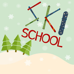 ski school logo, emblems, design elements. Winter club logotype templates, badges.