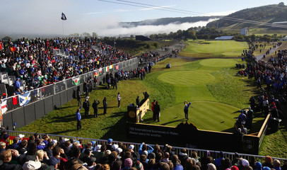 European Ryder Cup player Miguel Angel Jimenez tees off on the fourth day of the 2010 Ryder Cup at Celtic Manor in Newport
