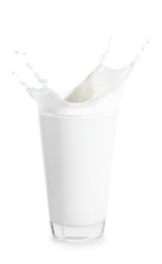 glass of milk with splashes