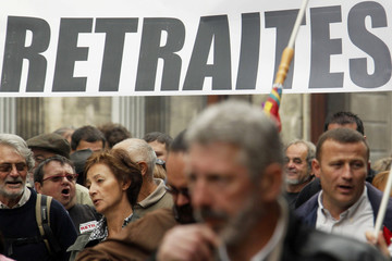 Students, private and public sector workers attend a demonstration over pension reform in Bordeaux