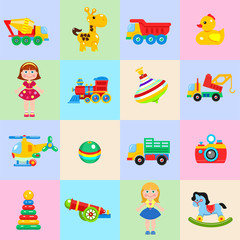 A set of children's toys. Vector isolated image.