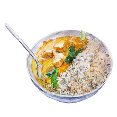 The national Indian dish rice with curry isolated on white background, watercolor illustration in hand-drawn style.