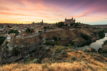 Colorful sunset over beautiful city of Toledo,Spain