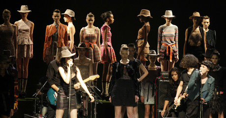 Models present creations from Maria Bonita Extra's 2010 autumn/winter collection during the Fashion Rio Show in Rio de Janeiro