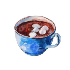 The blue coffee cup with white marshmallows. Isolated object on white background, watercolor illustration in hand-drawn style.