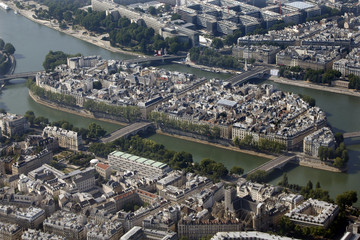 An aerial view shows ile Saint-Louis in central Paris