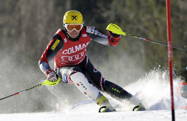 Croatia's Kostelic clears a gate during the men's Alpine Skiing World Cup Slalom race in Kranjska Gora