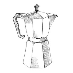 The black ink drawing of coffee maker isolated on white background. Vector illustration. Hand-drawn sketch style.