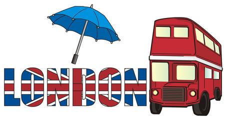 London, England, UK, Britain, travel, symbol, cartoon, illustration, city, Europe, Pound, money, flag, word, red, bus, umbrella