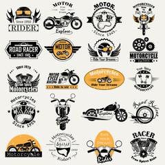Retro Motor Bike Racer label tag sticker for Advertisement