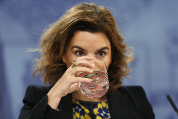 Spain's Deputy PM Saenz de Santamaria drinks water during a news conference at Moncloa Palace in Madrid