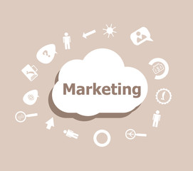 Text Marketing. Business concept . Icons set for cloud computing for web and app