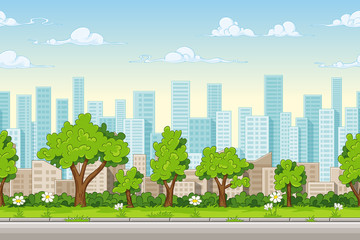 Wall Mural - Seamless cartoon city background. Vector illustration with separate layers.