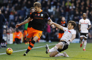 Sheffield Wednesday's Glenn Loovens in action with Fulham's Chris Martin