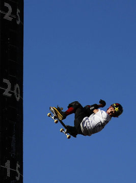 Mitchie Brusco competes during the Skateboard Big Air Final at X Games 17 in Los Angeles
