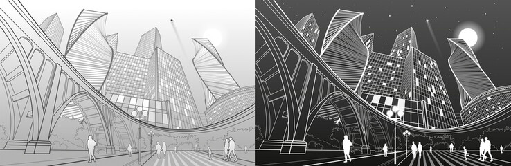 Big bridge, night modern city on background, people walking to square, industrial and infrastructure illustration, white and gray lines landscape, urban scene, vector design art